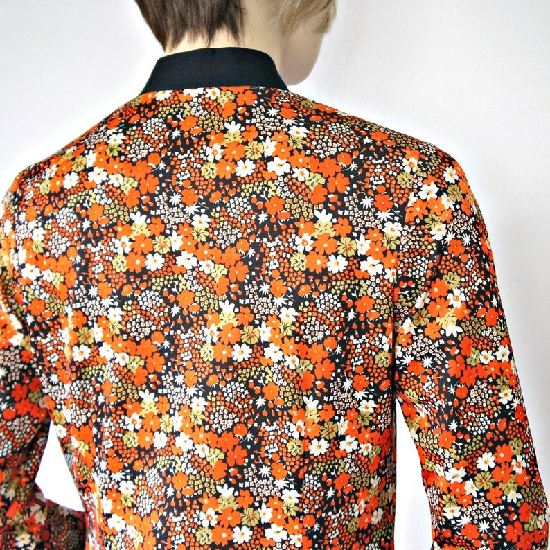 Vintage Blouse Orange Floral Oriental Style Black Size Small Costume Psychedelic Pajama Top Jacket