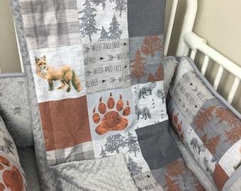 Black aqua quilt Baby blanket nursery crib quilt comforter minky dot abusymother baby bedding