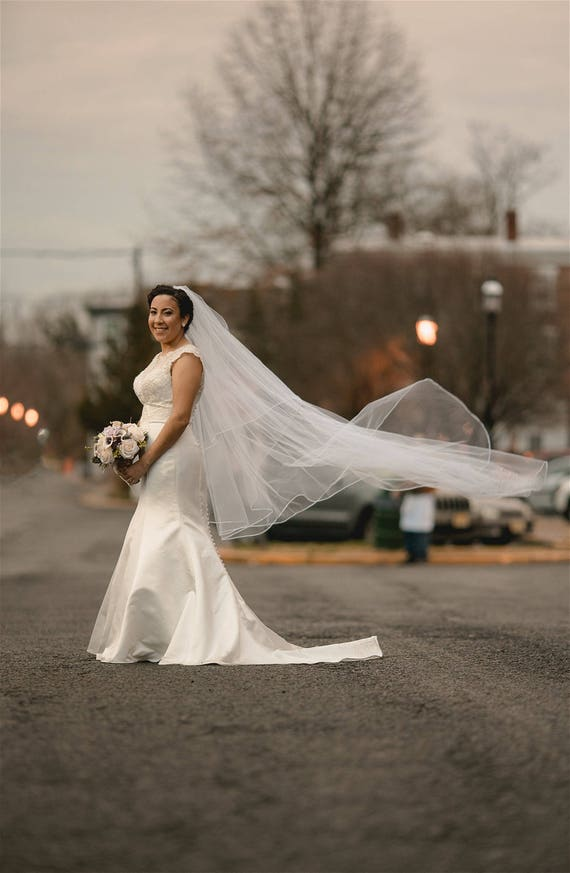 Cathedral veil long Two tier Wedding Bridal Veil with blusher white ivory veil or diamond abusymother veil