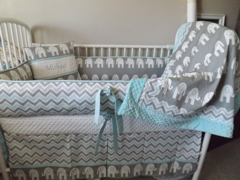 Baby Bedding Crib Skirt Gray And Aqua Elephant Chevron Crib Etsy