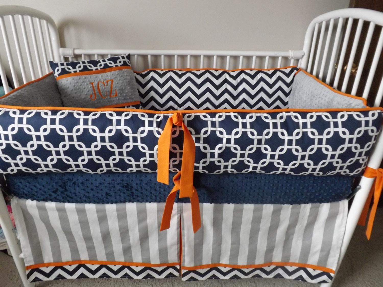 baby boy bedding crib sets navy chevron gray orange bumper. Black Bedroom Furniture Sets. Home Design Ideas