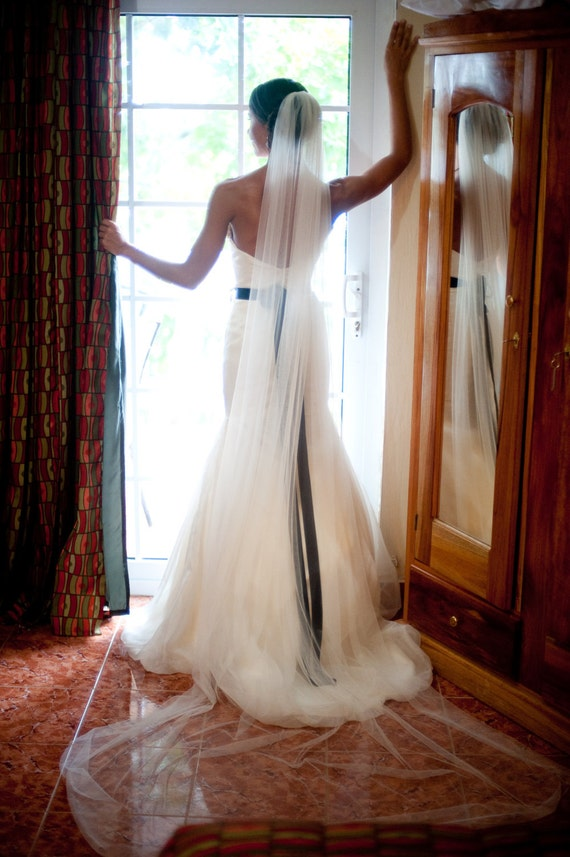 Cathedral chapel Floor length Wedding Bridal Veil simple sheer single white ivory  diamond abusymother wedding veils bride accessory