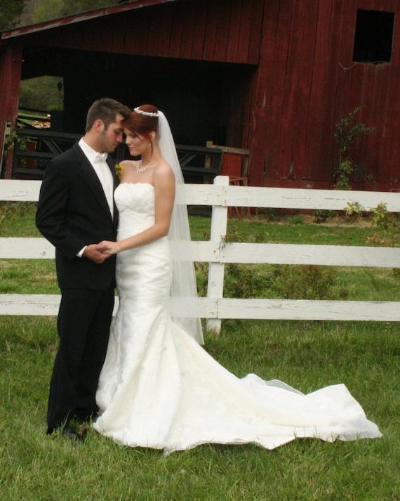 Ankle Length Beach Bridal Wedding Veil 60 inch custom white, ivory or diamond