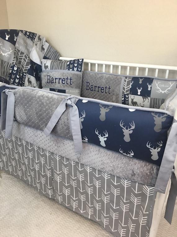 Baby Bumper Bedding Crib Set Navy Gray, Blue Deer Head Baby Bedding