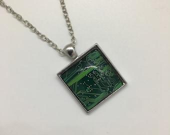 Cyberpunk Circuit Microchip Pendant - Handmade Necklace -  Unusual Circuit Cyberspace Computer Science Geek Matrix Jewelry