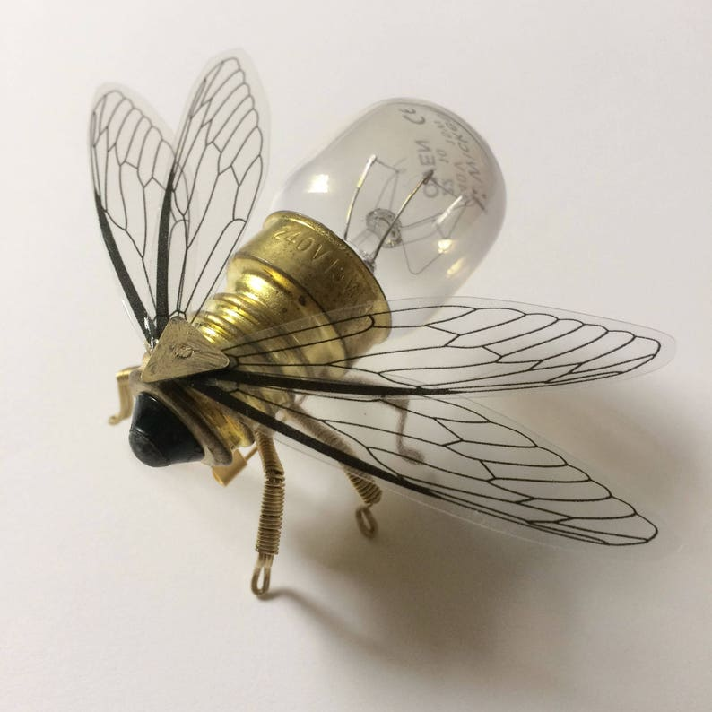 Save the Bees  Steampunk brooch  Small Brass Bee Lightbulb image 0