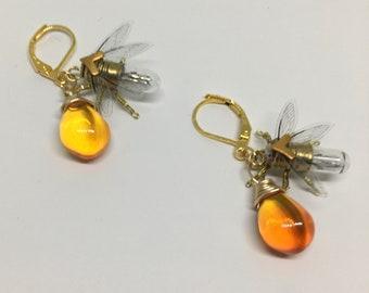 Steampunk earrings - A Drop of Honey - Handmade Tiny Bee Lightbulb Earrings - OOAK Unique Upcycled Steampunk Steam Punk Clockwork Jewelry