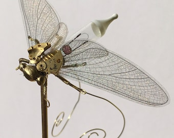 Mayfly Sculpture Steampunk Clockwork Insect in Glass Dome - Original Oddities & Curiosities Mini Lightbulb Ornament Specimen Sculpture Art
