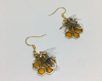 Steampunk earrings - Tiny Bee and Honeycomb Earrings - Original OOAK Unique Upcycled Handmade Steam Punk Clockwork Jewelry