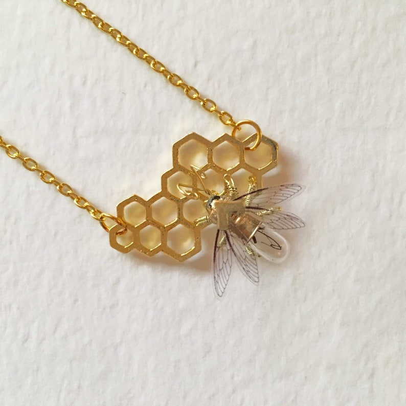 Save the bees  Steampunk honeycomb and clockwork bee necklace image 0