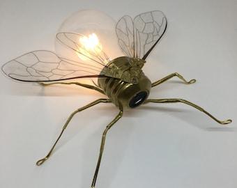Limited Edition Steampunk Clockwork Geometric Hexagon Glass Honeycomb Bumblebees Garden Wall Art Ornament - Mini Insect Lightbulb Sculpture