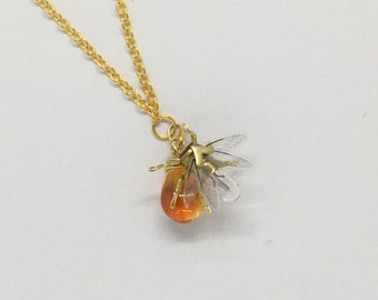 Steampunk necklace  - A Drop of Honey - handmade Tiny Bee Lightbulb Necklace  - OOAK Unique Upcycled Steampunk Steam Punk Clockwork Jewelry