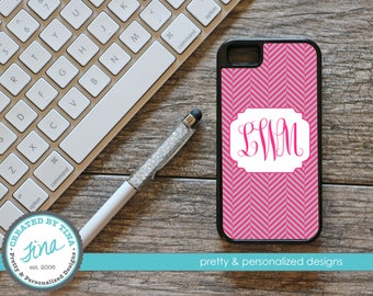 Pink & Gray Herringbone Personalized Phone Case (Tough)