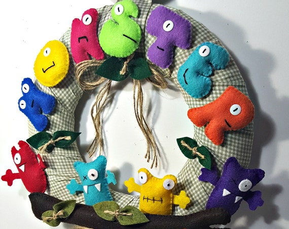 Monster wreath first birthday décor felt monster supplies felt wreath door hangers decor monster children friendly turbo fast party supplies
