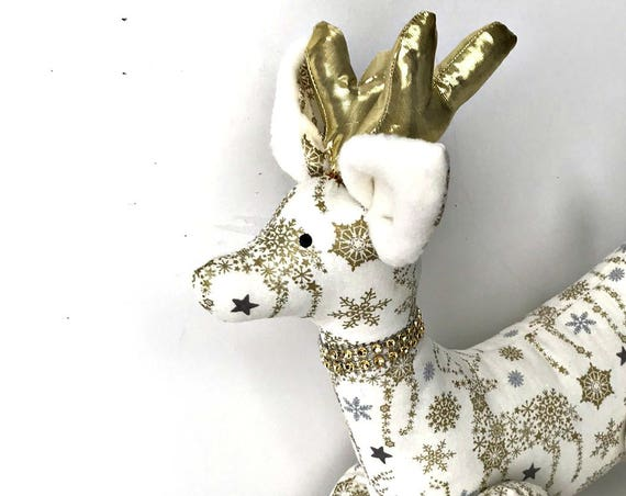 Christmas Reindeer gold doll  valentine gold decoration tilda reindeer doll white and gold winter stuffed reindeer soft toy