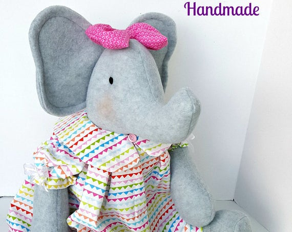Baby friendly elephant doll Handcrafted Stuffed Elephants circus theme nursery room decor gray plush  elephant large fleece animals