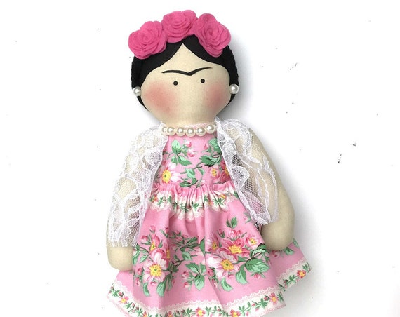 Mexican Doll Frida style small mexican girl doll first doll feminist doll gifts red boots of style dress crown catrina toy