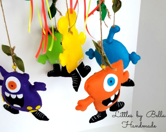 MOnster mobile decoration monster party supplies adopt a monster decor room  Felt leaves Mobile Theme Party Monsters turbo fast party