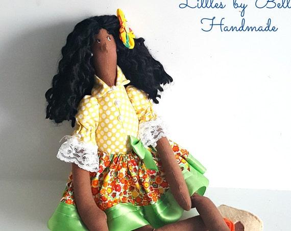 Black doll handmade afro  rag doll cloth doll cloth black dolls human figure doll brunette doll mulata  art folk black people
