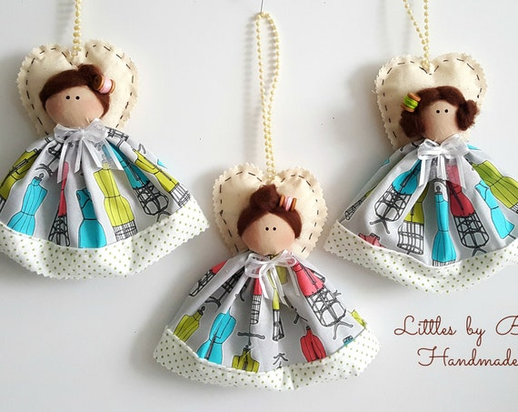 Sewing doll ornaments and accents handmade sewing room decoration sew little gifts doll decor angels decorations chain dolls