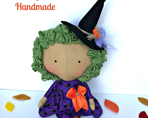 SALE - Witch doll children Halloween dolls tilda toy autumn season dolls tilda harvest fabric fall gifts Halloween party decoration dolls