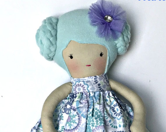 First doll  soft doll Blue dolls girls best friend doll soft sculpture doll handmade cloth doll blue dress cotton candy doll