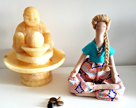 Yoga doll Soft sculpture gift to yoga teacher textile doll yoga room decor personalized yoga doll handmade balinese doll collectible doll