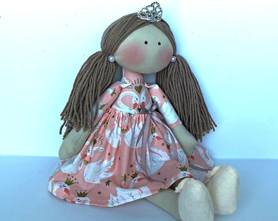 Ponny tail  hair doll gift for a  girls  cloth doll handmade doll swan rag dolls  custom doll birthday gift ideas