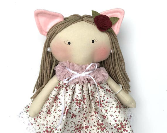 Kitten doll cat girl doll Cat doll kitten lovers gift cat human doll cat dress little girls gifts headband accessories girls best friend