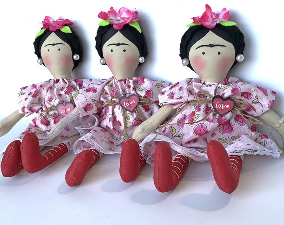 Mexican doll handmade doll  Frida Kahlo  handmade catrinas ready to ship folk art doll  heart dress  mexican  rag doll mexican soft