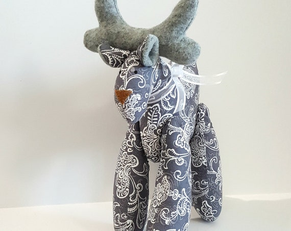 Stuffed Reindeer tilda Stuffed Reindeer doll softie  ornament gray and  white winter gift idea stuffed plush animal toy for children
