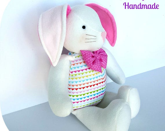 Bunny doll white fleece bunnies  easter gifts pink rabbit doll Soft bunny gift to children baby friendly stuffed animals pink girls
