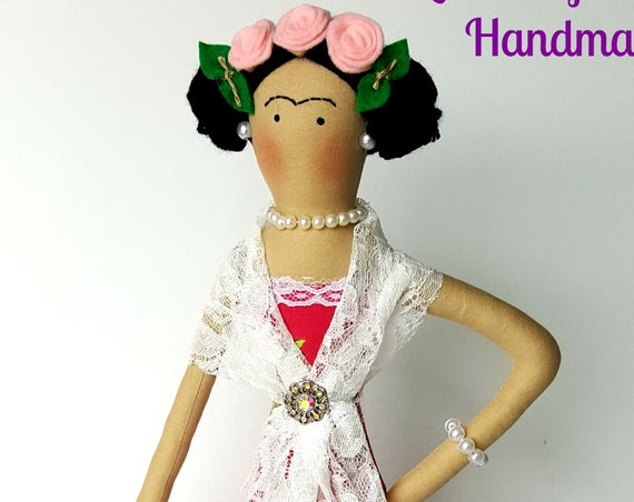 Frida Kahlo soft sculpture textile doll handmade mexican doll fabric doll human figure Diego Rivera mexican artist painter art doll