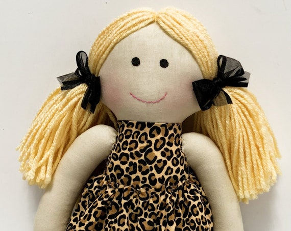 Baby First Doll cloth doll rag doll first birthday gift Children friendly embroider a name on set baby leopard  doll for kids
