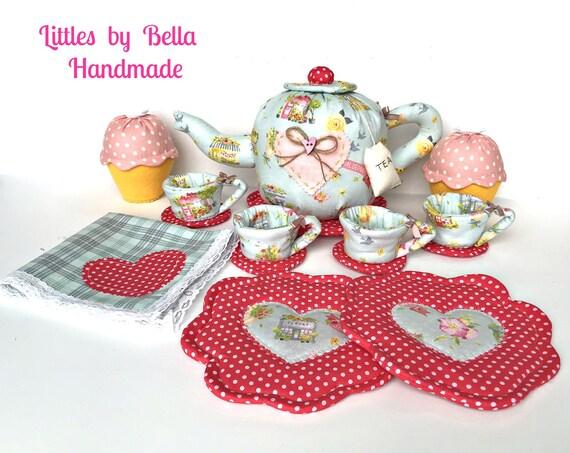 Fabric Tea pot set tea pot handmade gift for girls tea set fabric Textile teapot fabric soft toys children friendly toys tea party decor