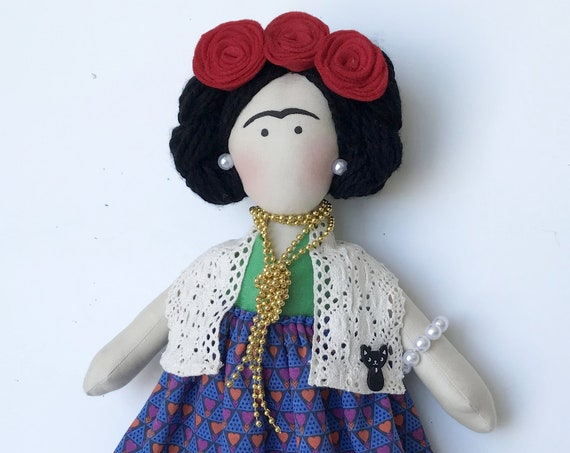 Frida kahlo inspired Handmade doll mexican decor famous painter doll folk art Diego Rivera wife Feminist handmade doll unique exquisite