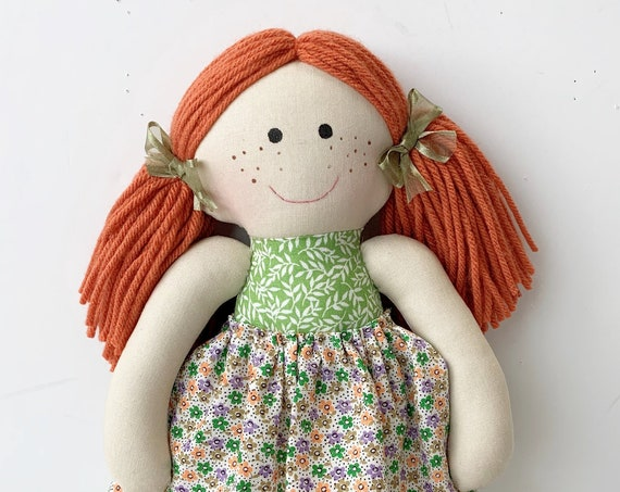 Baby First Doll cloth doll rag doll first birthday gift Children friendly embroider a name on set baby red head doll for kids