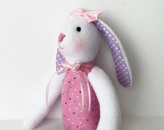 First doll  Bunny friendly baby toy Stuffed bunny rabbit  plush toy doll softies  animals rabbits blue  bunny gift  Bunny stuffed animals
