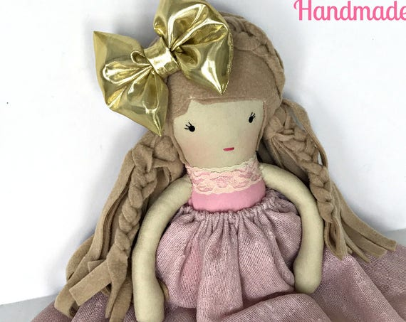 Embroidered soft doll pink dolls girls best friend doll soft sculpture doll handmade cloth doll gold dress baby friendly  doll