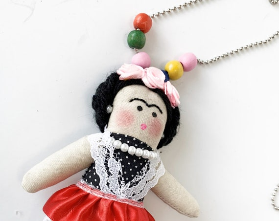Mexican doll  Necklace Frida doll fabric ornament mexican doll art handmade mexican artist painter