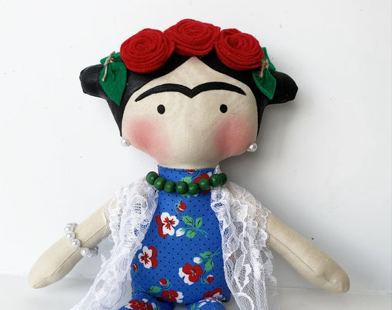 Frida Kahlo doll First doll Mexican doll children doll to girls small dolls  happy dolls mexican unique doll littles by Bella doll