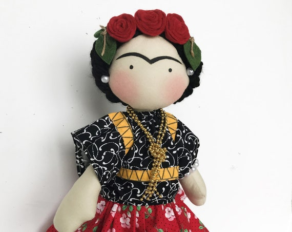 Frida kahlo inspired Handmade mexican decor famous painter doll folk art Diego Rivera wife Feminist  handmade doll  unique exquisite dolls