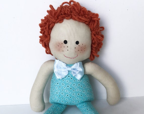Baby First Doll  red head dolls cloth doll rag doll first birthday gift Children friendly embroider a name on baby born doll for kids