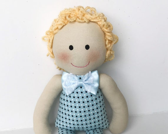 Baby First Doll  blonde  dolls cloth doll rag doll first birthday gift Children friendly embroider a name on baby born doll for kids