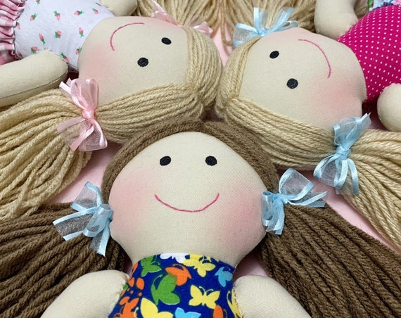 Long pony tail hair Baby First Doll cloth doll rag doll first birthday gift Children friendly embroider a name on set baby doll for kids