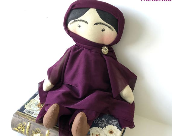 Malala Yousafzai doll handmade feminist Pakistan doll Malala children strong women doll feminst nursery decor feminism icon dolls