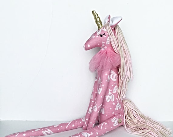 Textile Unicorn doll Rainbow  room decor cotton unicorn nursery room pink Unicorn girls circus decoration Sculpture  Taxidermy faux animal