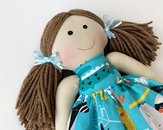 Baby First Doll cloth doll rag doll first birthday gift Children friendly embroider a name on set baby safari doll for kids