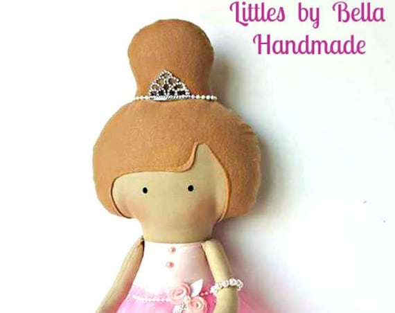 Soft sculpture  Ballerina pink doll nursery dolls ballet dancer gift to little girls ballerina decor room littles by Bella rag doll