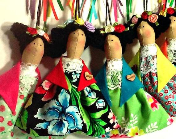 Mexican doll  ornament catrinas  key chain fabric ornament mexican doll art handmade mexican artist painter